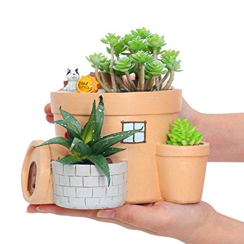 Messagee Cute Cat and Cabin Succulent Pots with Drainage Resin Mini Flower Pot Garden Plants Pot Desk Flower Decoration