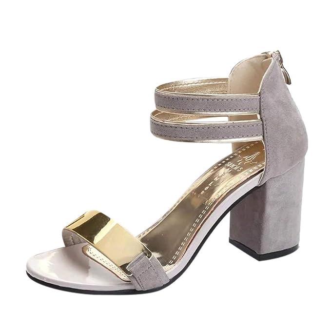 POLP Sandalias de Vestir Tacón Verano 2019 Casual Zapatos con Puntera  Abierta de Cara Brillante para cdfea47b7dfe