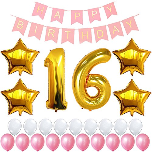 16th Birthday Decorations Party Supplies Happy Birthday Banner, Giant 32'' Number Foil Balloon, Gold 18'' Star, Latex Balloon White and Pink, Free Inflator and Glue Dots (18' Happy Birthday Foil Balloon)