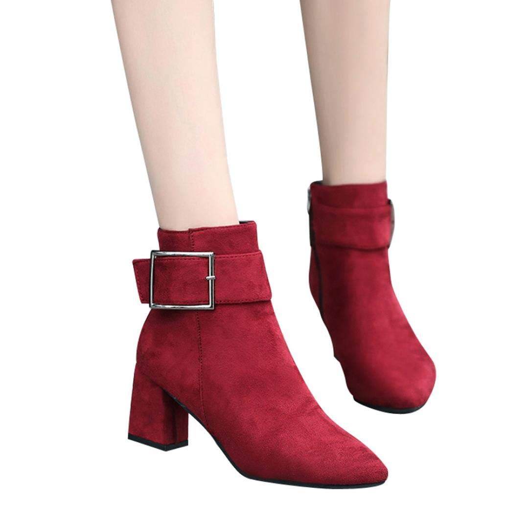 Gyoume Winter Ankle Boots Women Buckle Strap Boots High Heel Boots Martin Boots Dress Shoes