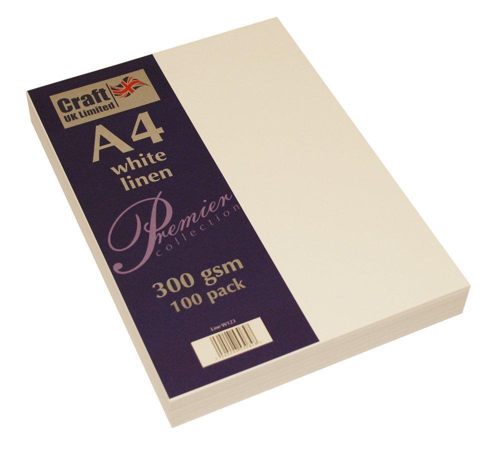 Craft UK Karton, A4, elfenbeinfarben, gehämmert, glatt, 100 bis 500 Blatt, 300 g m², 5 Packungen mit weißem Leinen, Weiß B07FT2B69T | Günstige Bestellung