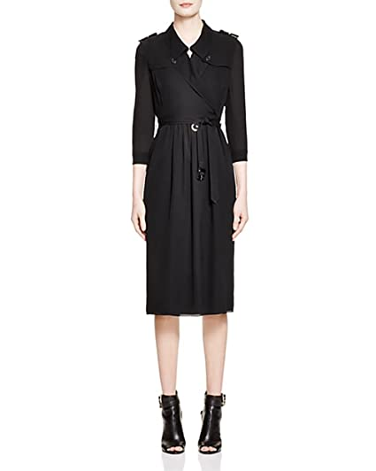 Burberry Agatha Silk Trench Dress Uk 4 Us 2 Black At Amazon