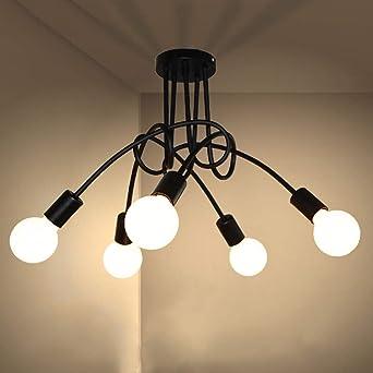 E27 Industrial Cerca de Lámpara techo, 5 luces Montaje en superficie Lámpara techo Para Escaleras Balcón-d:52cm(20.5 en)* H:32.5 cm(12.En 8)-negro: Amazon.es: Iluminación