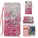 iPhone 8 Case,iPhone 7 Case,Slim Protective Holder Flexible Ultra Slim Wallet Case Shock Resistant Full Body Protection Card Holder Case Folio Flip Wallet Cover for Apple iPhone 7-Beautiful
