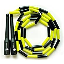 Segmented Jump Rope - Premium Quality - Adjustable Fitness Rope For All Ages - 10 feet of Shatterproof Plastic Segments covering Braided Nylon Cord - Ergonomic Handles - Survival And Cross