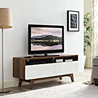Modway Origin Mid-Century Modern 47 Inch TV Stand in Walnut White