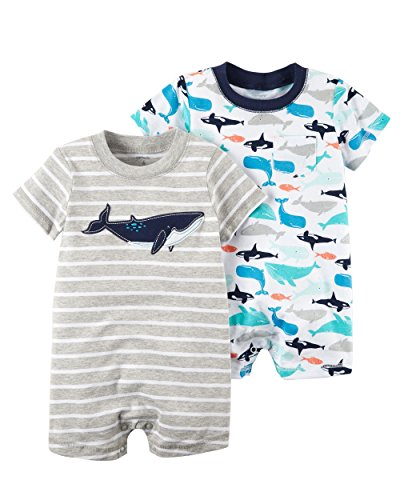 Carter's Baby Boy's 2 Pack Cotton Romper Creeper Set (12 Months, Multicoloured) by Carter's