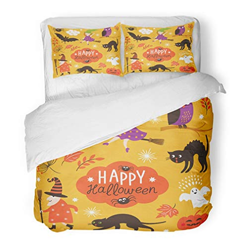 Emvency Bedding Duvet Cover Set Full/Queen (1 Duvet Cover + 2 Pillowcase) Orange Witch of Cute Halloween Yellow October Spider Treat Trick Kids Costume Sign Hotel Quality Wrinkle and Stain Resistant]()