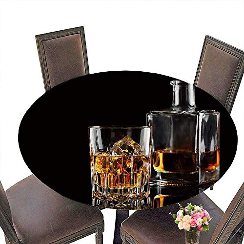 PINAFORE Modern Simple Round Tablecloth Glass of Whiskey with ice and a Square Decanter Isolated on a Black Decoration Washable 50