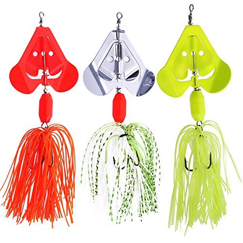 SUNMILE Fishing Buzzbait Spinnerbait Lures Double Willow Blade Spinner Baits for Bass Pike Metal Fishing Lure Pack of 3pcs (Mixcolor buzzbait 0.7oz) by SUNMILE