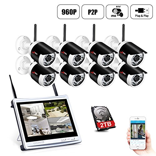 [All-in-One System]Wireless Security Camera System,ANRAN 8CH 960P Wireless Video Security System with 2TB HDD,8pcs 960P Indoor/Outdoor Wireless IP Cameras,65ft Night Vision,Plug&Play,Easy Remote View