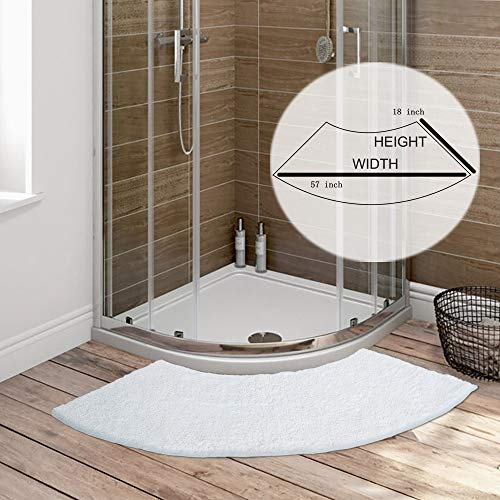 Seavish Luxury White Shag Curved Bath Rug, 18 x 57 inch Non Slip Microfiber Soft Absorbent Fanned Shower Mats Washable Bathroom Rug Corner Bath Tub Floor Carpet for Quadrant Shower Stall