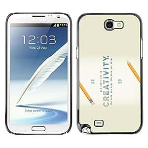 Caucho caso de Shell duro de la cubierta de accesorios de protección BY RAYDREAMMM - Samsung Galaxy Note 2 N7100 - Creativity Pencil School Invention Inspirational