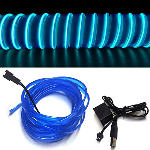 M.best USB Neon LED Light Glowing Electroluminescent Wire/El Wire for Automotive Interior Car Cosplay Decoration with 6mm Sewing Edge (5M/15FT, Blue) (Car Neon Lights)