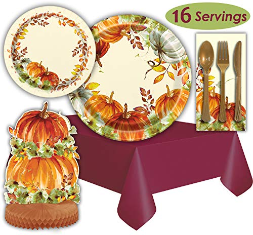 Thanksgiving Harvest Tableware - 16 Servings - Dinner Plates, Dessert Plates, Napkins, Cutlery, Tablecloths, Centerpiece. Perfect Party Supplies Set for Autumn Season with Pumpkins.