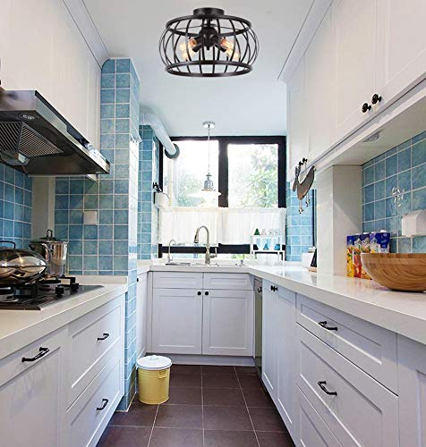 "Alice House 18"" Large Semi Flush Mount Ceiling Light, 4-Light, Brown Finish, T45 Edison Bulb Light Fixtures Ceiling for Kitchen, Bedroom, Entance, Bathroom AL7091-S4BR"