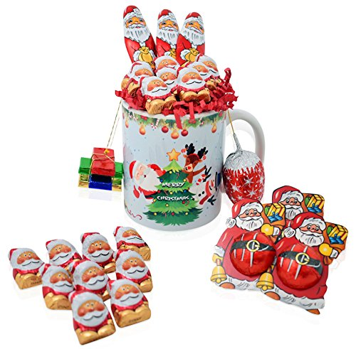 Christmas Mug Chocolate Gift Set - 25 Piece Gift Pack with Riegelein's Santa's and Christmas Chocolate Varieties - Christmas Gift Basket for Family, Friends, Her, Him and more