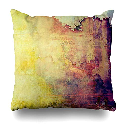 - Ahawoso Throw Pillow Cover Red Closeup Vintage Weathered Patterns Yellow Detail Beige Brown Orange Purple Violet Home Decor Pillowcase Square Size 16