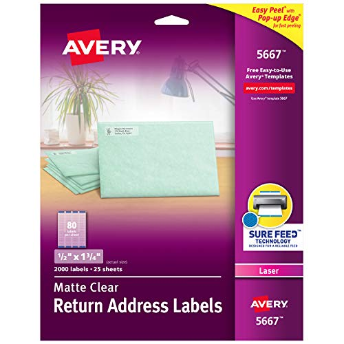 Avery Matte Frosted Clear Return Address Labels for Laser Printers, 1/2 x 1-3/4, 2,000 Labels (5667)