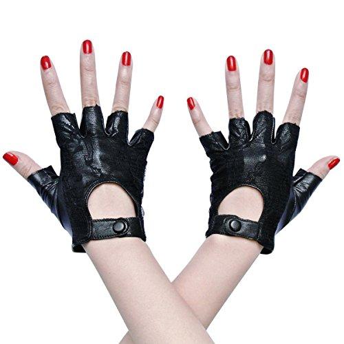 Black Sheepskin Lace Lady Women's Elegant Fingerless Leather Half Fingers Gloves (Desert Festival Costume)