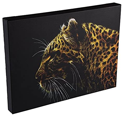 Yellow Fire Leopard Wall-Hanging Canvas Wrap Artwork with LED Lighting - 15.75