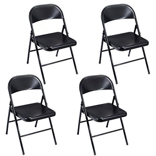 Set of 4 Folding Chairs Heavy Duty Steel Frame Portable Home Garden Office Furniture/ Black #1011 (Furniture Garden Uk Hire)