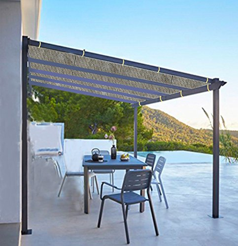 Shatex Shade Panel Block 90% of UV Rays with Ready-tie up Ribbon for Pergola/Greenhouses/Carport/Porch 8x12ft Coffee