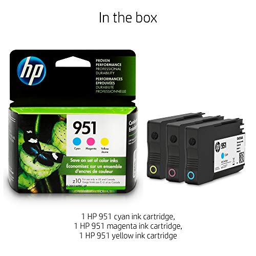 - HP 951 | CN051AN | Ink Cartridge | Cyan  Magenta  and Yellow | for Officejet Pro 251, 276, 8100, 8600, 8610, 8620, 8625, 8630