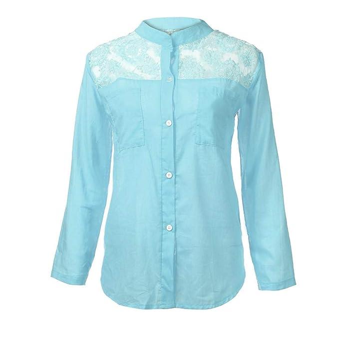 Camisa Mujer Otoño Moda Blusa de Encaje sólido Sudaderas Sin Capucha Manga Larga Suéter Capa con