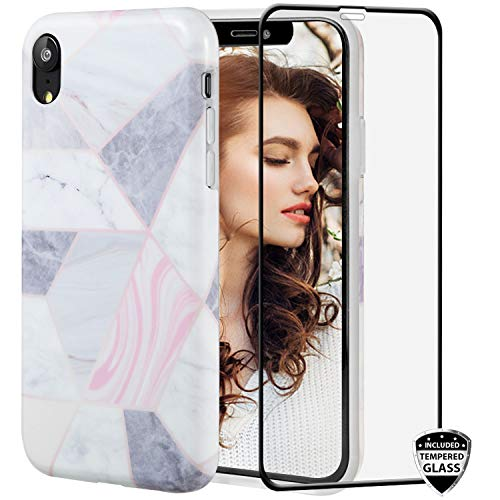 iPhone XR Case with Glass Screen Protector,REEJAX Cute Plaid Gray for Girls Women Best Protective Slim Fit Clear Bumper Glossy TPU Soft Silicon Cover Phone Case for iPhone XR[6.1inch]