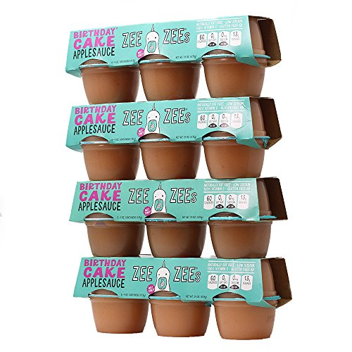Zee Zees Birthday Cake Applesauce Cups, All Natural, 4 oz Cups, 24 pack