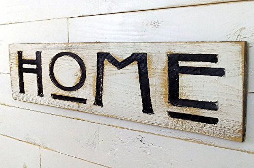 Home Sign Horizontal - Carved in a Cypress Board Rustic Distressed Kitchen Farmhouse Style Restaurant Cafe Wooden Wood Wall Art Decoration Wood Carved Folk Art