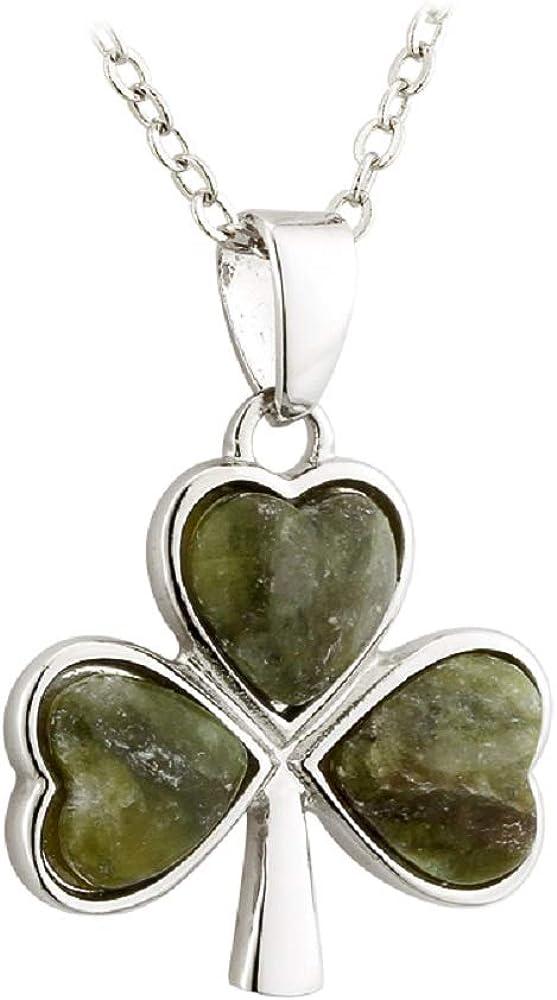 Shamrock Pendant Connemara Marble Green