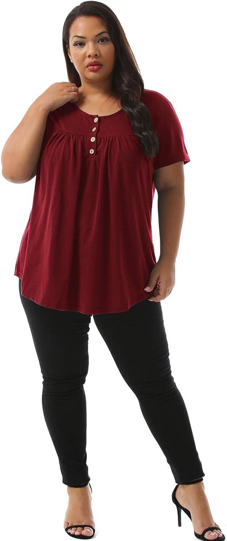 Nemidor Womens Loose Short Sleeve Pleated Blouses Casual Button up Plus Size Summer Tee Tops NEM206