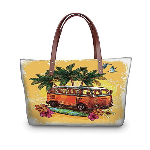 Surfboard Red Surf Decor - iPrint Design the fashion for you Waterproof Women Casual Handbag Tote Bags,Surf Decor,Hippie Classic Old Bus with Surfboard Freedom Holiday Exotic Life Sketch Style Art,Red Green Orange.
