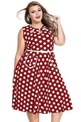 1950s Preppy (J&Design Women Polka Dot O Neck Sleeveless 50s Vintage Dress Plus Size Red 2XL)