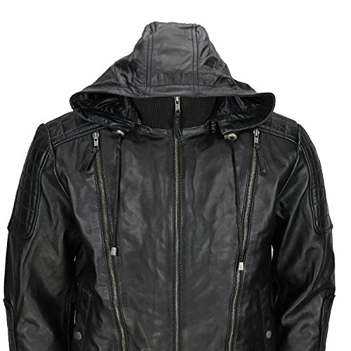 amp;h Black Hooded F Cowhide Retro Jacket Bolmber Men's Genuine Leather Fj8 gqx1U1dPw