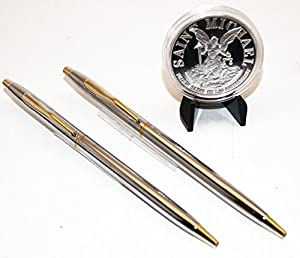 Police Chrome and Gold Classic Pens w/Silver Polished Steel Saint Michael's Challenge Coin from Beall's Bay