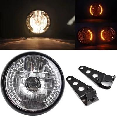 "KingFurt Universal Black Bracket Mount Universal 7"" Motorcycle Bike Headlight LED Turn Signal Light"