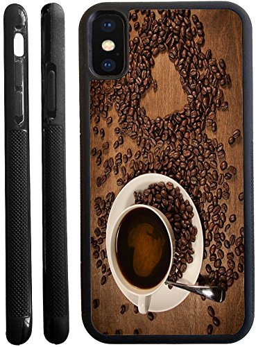 Rikki Knight Heart shape from coffee beans on wood Design iPhone X hybrid TPU Case Cover (Black Rubber with front bumper protection) for iphone (Bean Hybrid)
