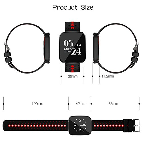 Fitness Tracker with Heart Rate Monitor,Smart Bracelet Blood Oxygen Pressure Monitor Sport Watch for IOS Android Smartphones(Red) by KingTo (Image #4)