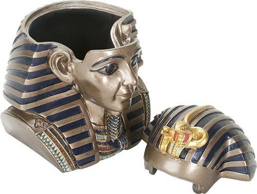 Ebros 5.5 Inch Tall Ancient Egypt King Tut Head Box Pharaoh Keepsake Trinket Jewelry Utility Box Container Collectible