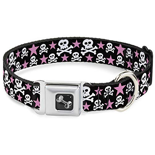 """Buckle Down Seatbelt Buckle Dog Collar - Skulls & Stars Black/White/Pink - 1"""" Wide - Fits 15-26"""" Neck - Large from Buckle Down"""