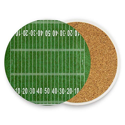 American Football Field Green Sport Lover Coasters,Protection For Granite,Glass,Soapstone,Sandstone,Marble,Stone Table - Perfect Cork Coasters,Round Cup Mat Pad For Home,Kitchen Or Bar Set Of 2 (Crackled Black Foot)