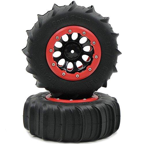 (2pcs 1/10 RC 4WD 2.2 Sand Storm Paddle Tires 114mm & Crawler 2.2 Beadlock Rims)