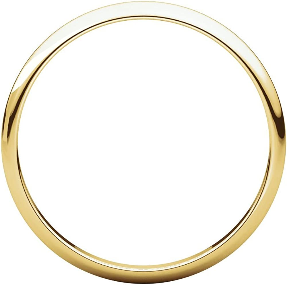 10K Yellow Gold 2mm Half Round Light Band