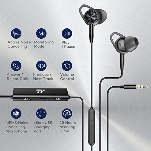 TaoTronics Active Noise Cancelling Headphones Wired Earbuds in Ear Stereo Awareness Monitor Earphones with Microphone and Remote 15 Hours Playtime 35mm Jack Premium Aluminum Matte Black