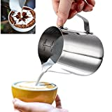 Milk Pitcher, gloednApple Stainless Steel Milk Frothing Jug Coffee Pitcher Latte Art Craft with Measurement Markings (350ml)