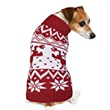 PETBABA Dog Christmas Sweater, Soft Stretch Pullover Keep Pet Warm in Winter Snow Cold Weather, Cable Knit Turtleneck with Reindeer Snowflake, Xmas Jumper Suitable Festival Holiday - XXL in Red