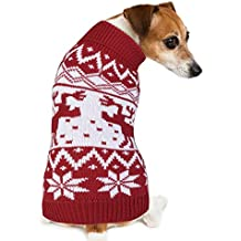 Dog Sweater, PETBABA Reindeer Snowflake Pattern Turtleneck Cable Knit Stretch Pullover Soft Jumper to Keep Warm in Winter Snow Cold Weather Good for Christmas Xmas Festival Holiday - M in Red